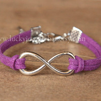 SALE- infinity bracelet, Purple leather bracelet, sweet gift, Christmas gift