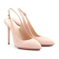 charlotte olympia - monroe suede sling-back pumps