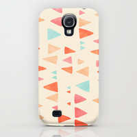 Back & Forth - triangle abstract pattern in peach, aqua & cream iPhone & iPod Case by micklyn