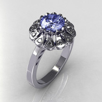Modern Vintage 14K White Gold 1.0 CT Round Blue Topaz 0.24 CTW Diamond Flower Ring JK17-14WGDBT