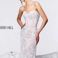 Strapless Sweetheart Long Dress by Sherri Hill