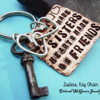 SISTER Friends Key Chain - Hand Stamped Rustic Antiqued Copper and sterling silver from KEY SERIES can be customized