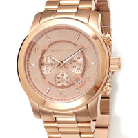 MICHAEL KORS Rose Gold Unisex Runway Chrono 46mm Watch