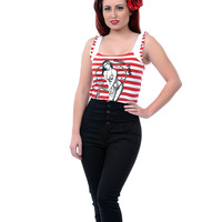 Red & White Stripe Bettie Page Sailor Top