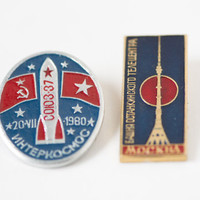 Soviet space badges Soyuz 37 international spaceflight pin USSR Vietnam and Ostankino television radio tower