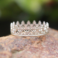 Crown Ring, Princess Ring, Tiara Stacking Ring 925 Argentium Sterling Silver, Game of Thrones Stackable, Handmade