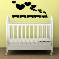 Wall Decal Vinyl Sticker Room Tattoo Decor Train Ride With Hearts Smoke 1352