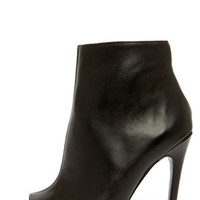 Steve Madden Dianna Black Leather Peep Toe High Heel Booties