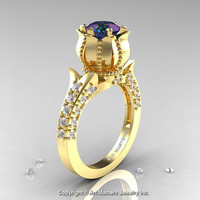 Classic 14K Yellow Gold 1.0 Ct Alexandrite Diamond Solitaire Wedding Ring R410-14KYGDAL