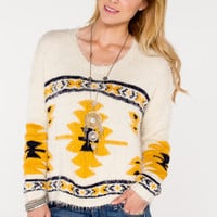 Fuzzy Tribal Sweater - Women's Clothing and Fashion Accessories | Bohme Boutique