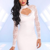 White Sweetheart Dress with Lace Sleeves & Cutout Back