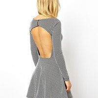 ASOS Skater Dress in Spot Jacquard