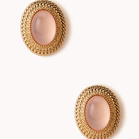 Retro Natural Stone Clip-On Earrings