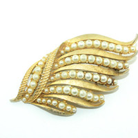 Vintage Corocraft Leaf Brooch, gold tone with pearl accents. Designer signed jewelry.