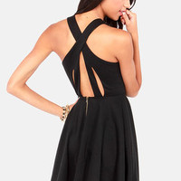 Crisscross The Line Black Dress