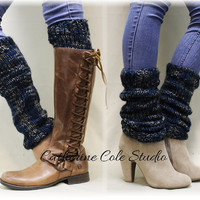 GRANDMA'S LOVE, chunky space dyed hand knit look Leg warmers for boots womens leg warmers knit black/grey/blue Catherine Cole Studio LW7