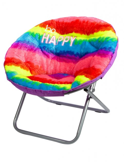 Faux fur rainbow saucer chair girls from justice