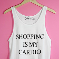 Shopping is My Cardio Crop Tank Top | Yotta Kilo
