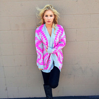 Neon Pink & Grey Tribal Knit Sweater Cardigan