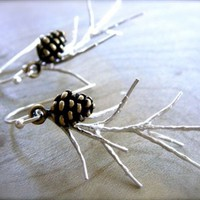 Silver Pine Earrings