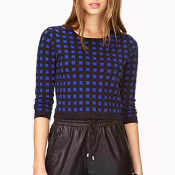 Retro Grid Cropped Sweater