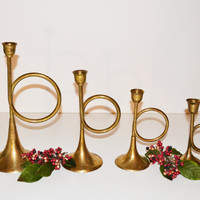 Vintage Brass Horn Taper Candle Holders Graduating Candlesticks Brass Horn Brass Trumpet Candle Holders Holiday Decor