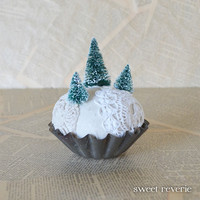 Evergreen Forest Snowy Winter Scene Miniature - Pin Cushion Keepsake - Vintage Inspired Textile Christmas Decoration