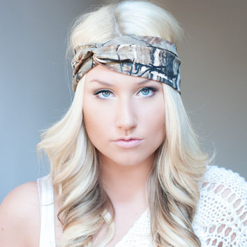 Camo headband, stretch cotton twist headband camouflage