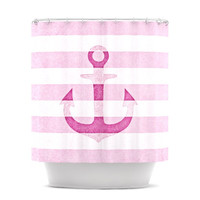 "Monika Strigel ""Stone Vintage Pink Anchor"" Shower Curtain 
