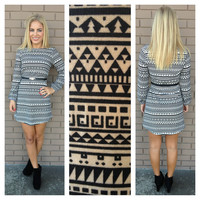 Black Geo-Print Long Sleeve Dress