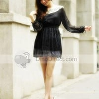 Doclin Dot Pattern Chiffon Boat Neck Long Sleeve Thigh Length Women Dress - DinoDirect.com