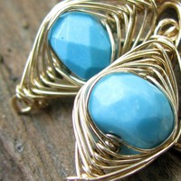 Sleeping Beauty Turquoise Earrings, 14K GF Herringbone Wire Wrapped