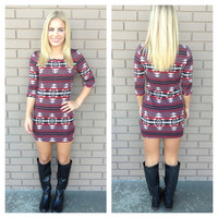Wine Aztec Knit Dress