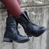 Castle Rock Black Sweater Cuffed Combat Boot