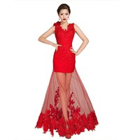 Dearta Women's Sheath/Column V-Neck Floor-Length Tulle Evening Dresses