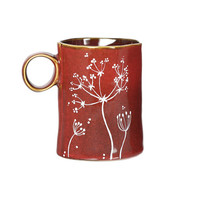 Fall Mug Hand Painted Ceramic Mug Brown Rustic Autumn Coffee Mug Queen Anne's Lace Design Minimal Kitchen Decor