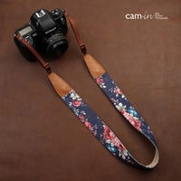 Blue Floral Print Camera Strap in Cotton / Leather Fabric for DSLR Canon Rebel EOS Nikon, Sony, etc.