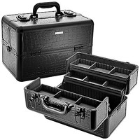 "SEPHORA COLLECTION Embossed Traincase – Black Faux Croc (14 x 8.5 x 9"")"