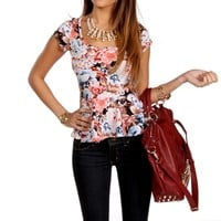 Light Blue Floral Peplum Top