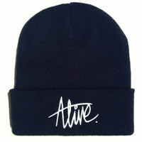 Alive. Script Beanie French Navy