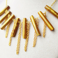 Gold Coral Sticks & Dangling Gold Chain Boho Tribal Style Bib Statement Necklace