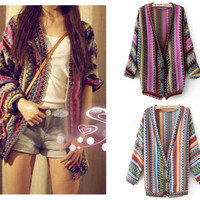 Striped Cardigan Sweater National Wind  JCHBB