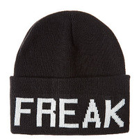 Black Freak Slogan Beanie