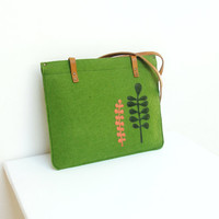 Felt Leather Laptop Macbook Bag Sleeve with Appliques 13''