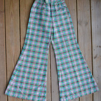 Vintage Plaid Bell Bottoms 70s Wide Leg Hippie Pants High Waisted Pants Plaid Tartan Pants Elephant Bell Bottoms