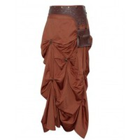 EW-101 - Brown Gathered Steampunk Skirt with Studded Belt and Pouch Detail
