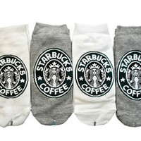 starbucks 4 Pairs of starbucks white and gray color socks for women