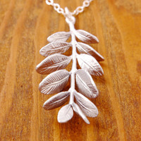 Silver Branch Necklace - leaf necklace, tree necklace, realistic branch, realistic leaf, nature jewelry