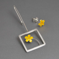 Spring Bright Yellow Flowers Mismatched Sterling Silver Earrings Square Dangle Post Tiny Flower Detail Modern Gift for Her Under 50