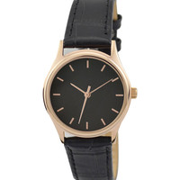 Ladies Rose Gold Watch Black